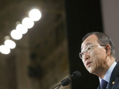 Secretary-General Ban Ki-moon addresses the inaugural conference of the International Anti-Corruption Academy, in Vienna.