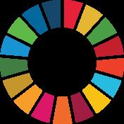 Ikon för Globala målen. En cirkel med sjutton delar i olika färger.