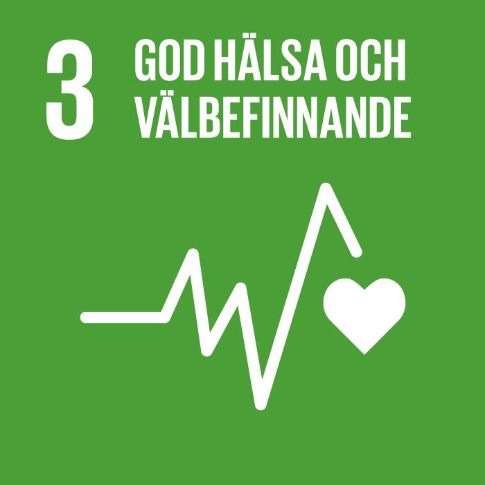 3. Hälsa och välbefinnande. Grön kvadrat, text och symbol i vitt. En EKG-kurva som avslutas med ett hjärta.