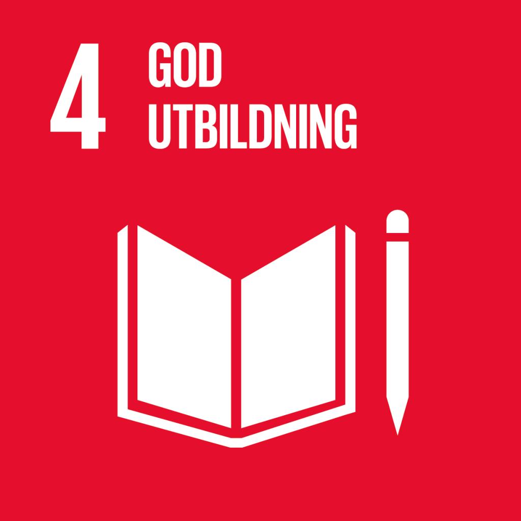 4. God utbildning för alla. Mörkröd kvadrat, text och symbol i vitt. En uppslagen bok med en penna bredvid.