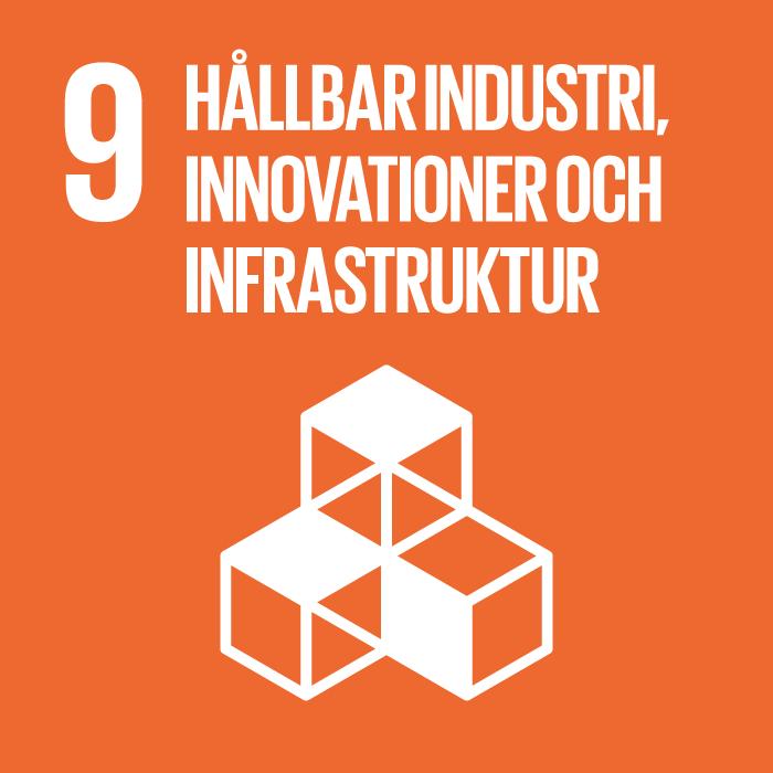 9. Hållbar industri, innovationer och infrastruktur. Orange kvadrat, text och symbol i vitt. Fyra kuber, tre är i botten och bildar ett hörn, den fjärde är staplad på hörnkuben.