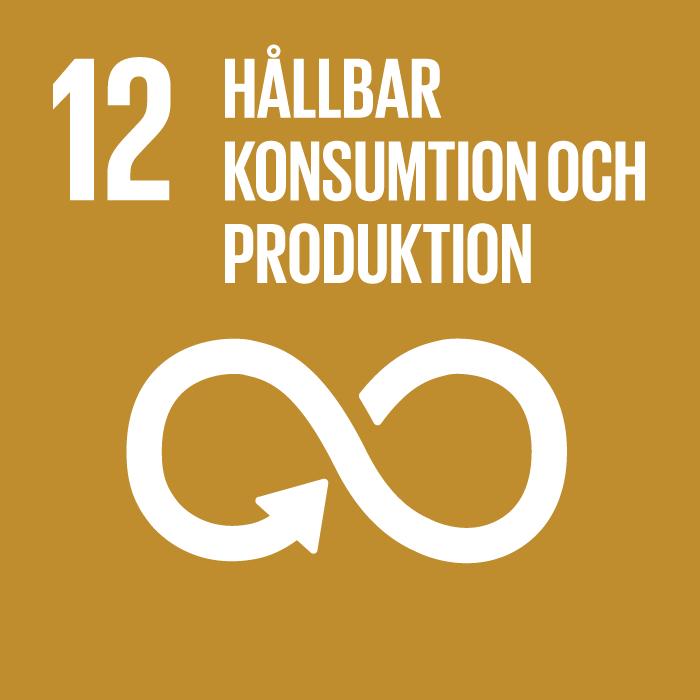 12. Hållbar konsumtion och produktion. Mörk senapsgul kvadrat, text och symbol i vitt. En liggande åtta med en pil i slutet av linjen. En variant av oändlighetssymbolen.