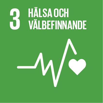 Grön kvadrat med hållbarhetsmålet 3, hälsa och välbefinnande