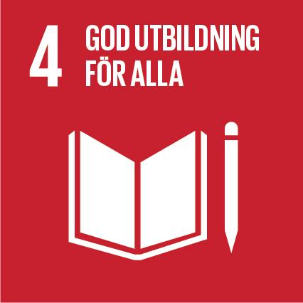 Röd kvadrat med nummer 4 av de globala målen: God utbildning för alla.