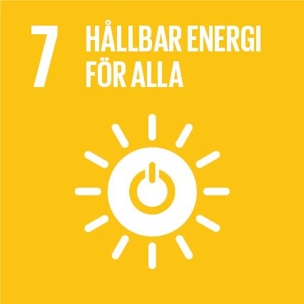 7. Hållbar energi för alla.Gul kvadrat, text och symbol i vitt. En sol med en powersymbol i mitten.Solen har tolv strålar.