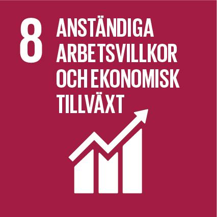 Mörk röd kvadrat med globala målet nummer 8: Anständiga arbetsvillkor och ekonomisk tillväxt.