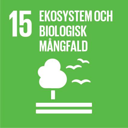 15. Ekosystem och biologisk mångfald. Limegrön kvadrat, text och symbol i vitt. Ett träd som står på två vågräta streck. Bredvid trädet finns tre flygande fåglar.