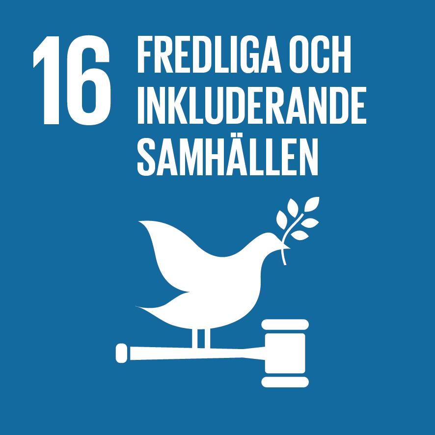 16. Fredliga och inkluderande samhällen. Kungsblå kvadrat, text och symbol i vitt. En fredsduva med kvist i näbben, sitter på skaftet av en domarklubba.