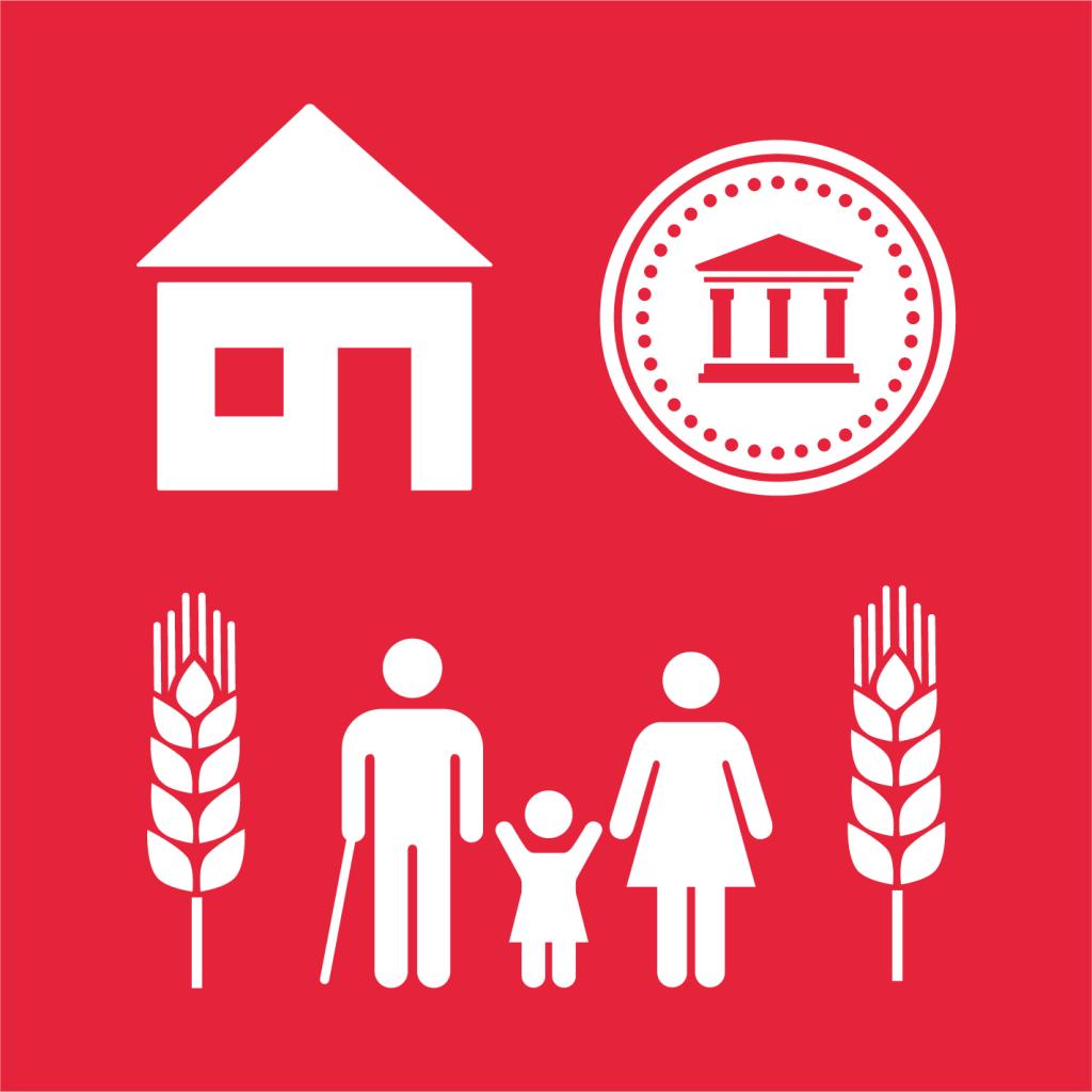 Ikon för delmål 1.4: Lika rätt till egendom, grundläggande tjänster, teknologi och ekonomiska resurser