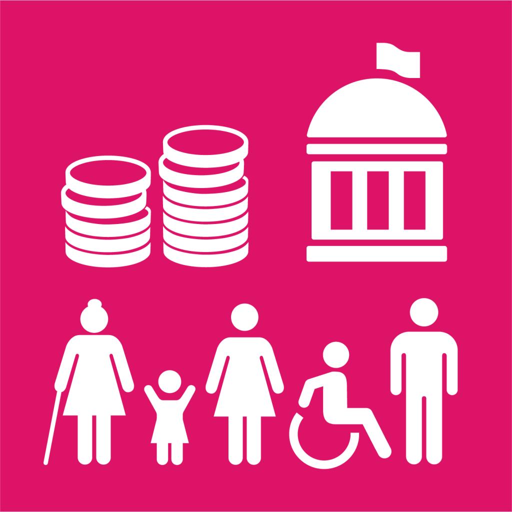 Ikon för delmål 10.2: Främja social, ekonomisk och politisk inkludering