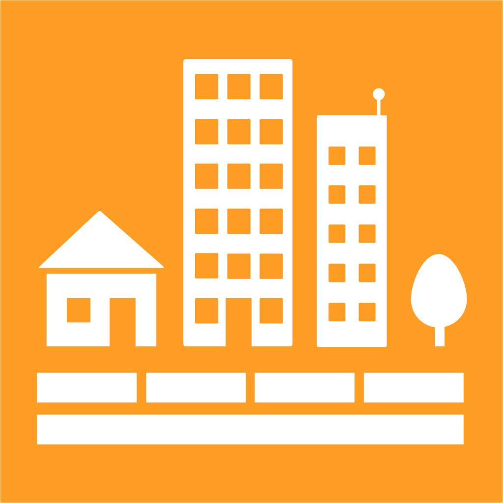 Ikon för delmål 11.1: Säkra bostäder till överkomlig kostnad