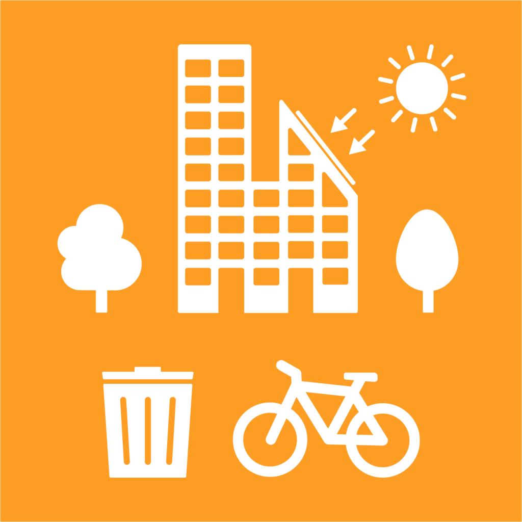 Ikon för delmål 11.6: Minska städers miljöpåverkan