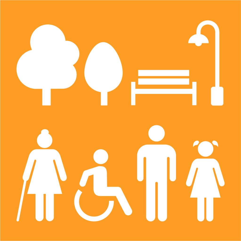 Ikon för delmål 11.7: Skapa säkra och inkluderande grönområden för alla
