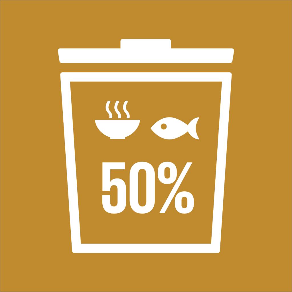 Ikon för delmål 12.3: Halvera matsvinnet i världen