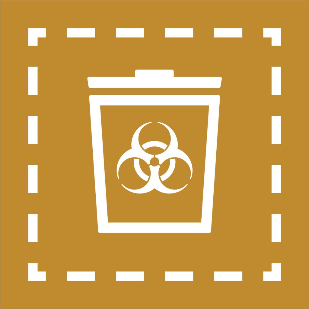 Ikon för delmål 12.4: Ansvarsfull hantering av kemikalier och avfall