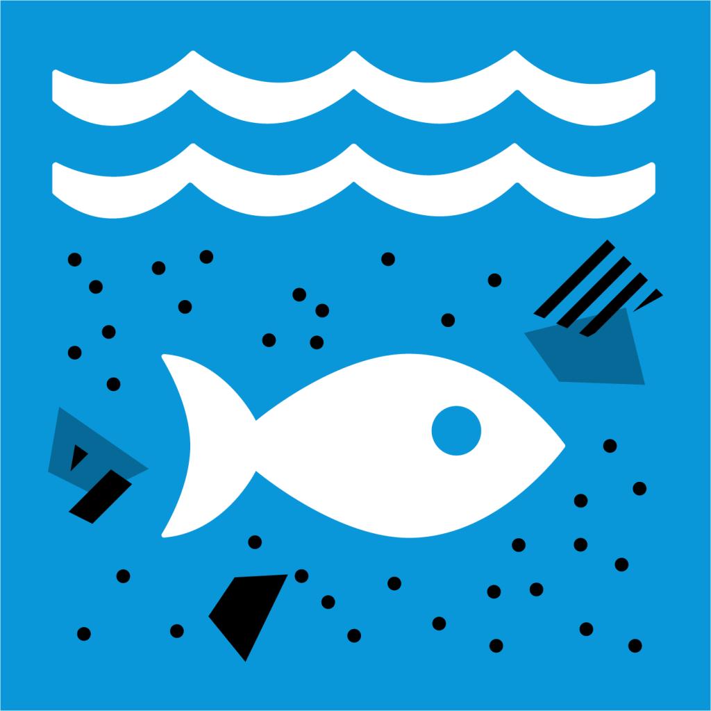Ikon för delmål 14.1: Minska föroreningarna i haven