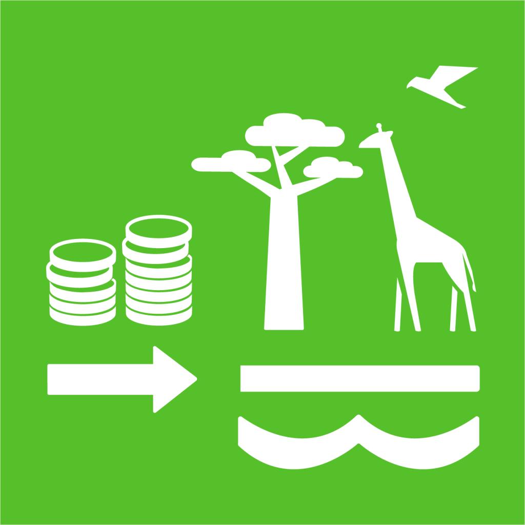 Ikon för delmål 15.A: Öka de finansiella resurserna för att bevara och hållbart nyttja ekosystem och biologisk mångfald