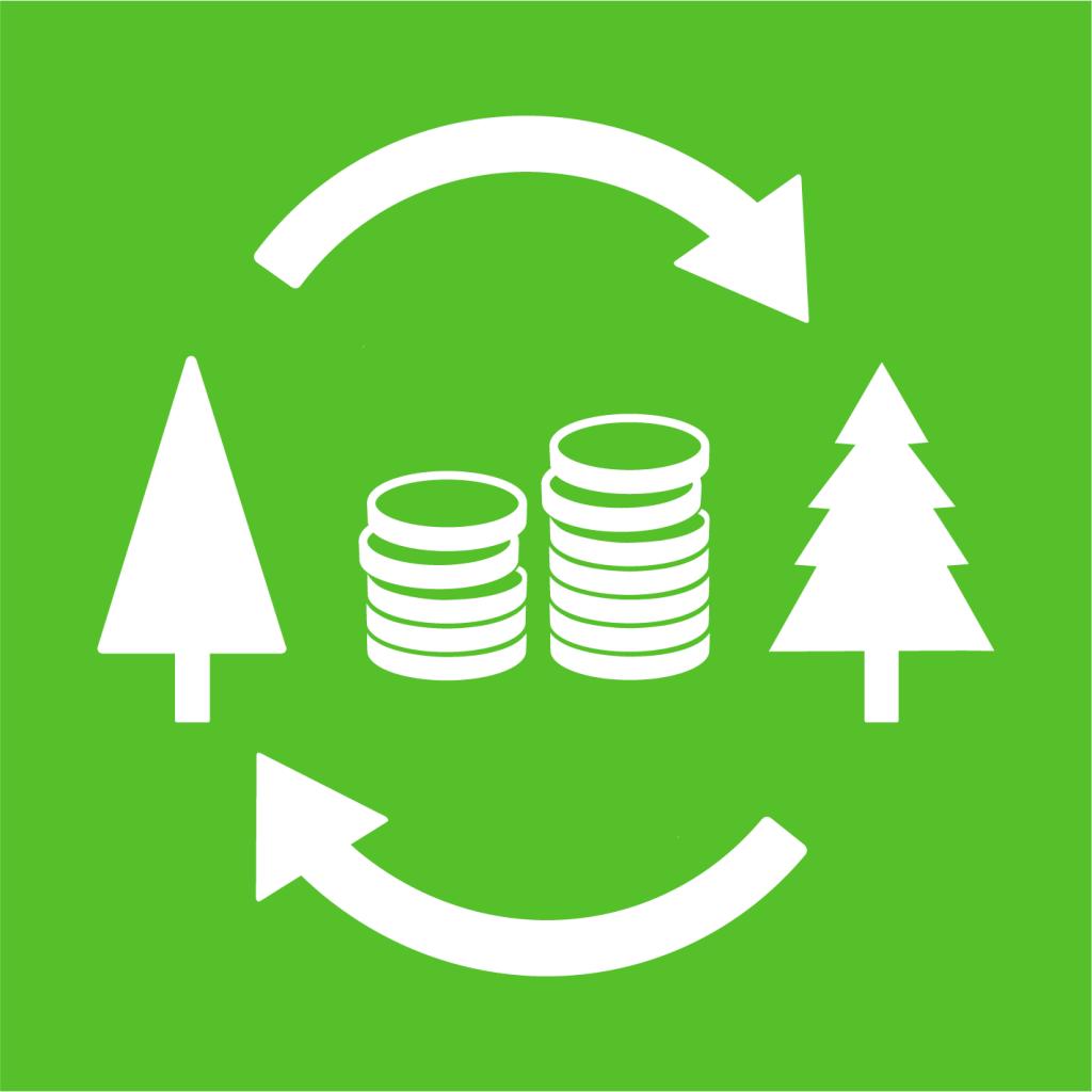Ikon för delmål 15.B: Finansiera och skapa incitament för hållbart brukande av skog