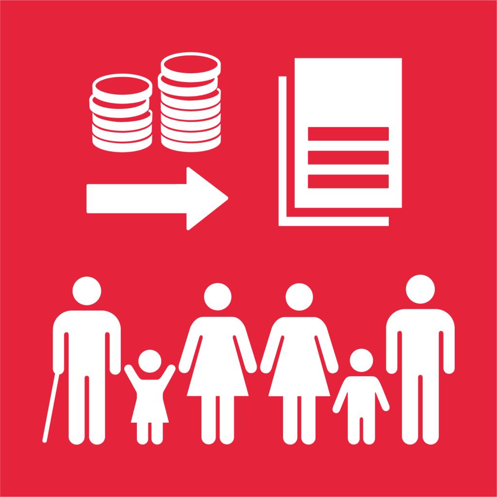 Ikon för delmål 1.A: Mobilisera resurser till implementering av politik för fattigdomsbekämpning