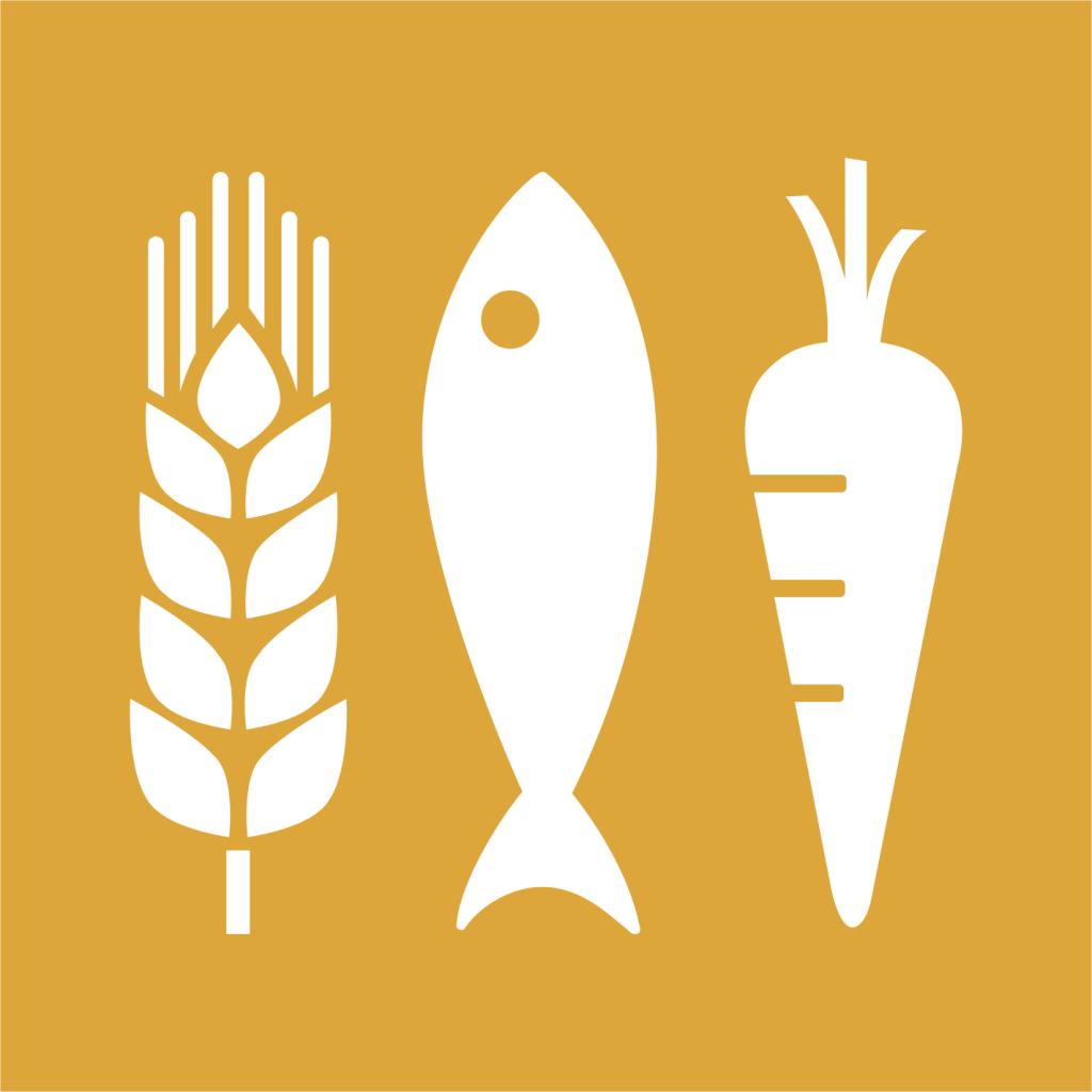Ikon för delmål 2.1: Tillgång till säker och näringsriktig mat för alla