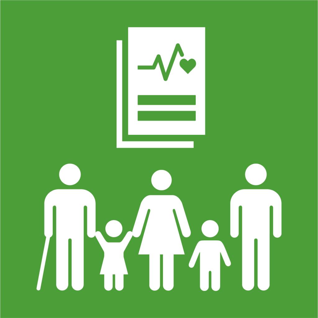 Ikon för delmål 3.8: Tillgängliggör sjukvård för alla
