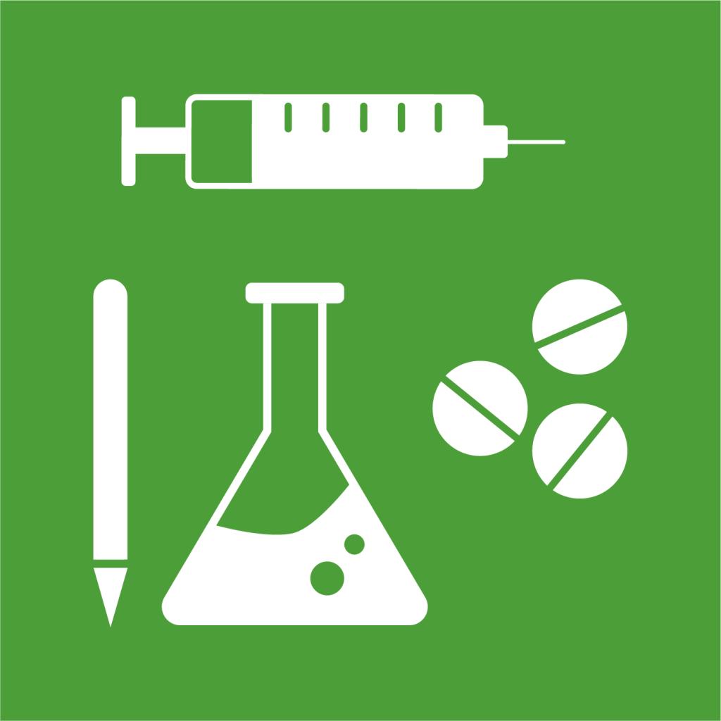 Ikon för delmål 3.B: Stöd forskning, utveckling och tillgängliggör vaccin och läkemedel för alla