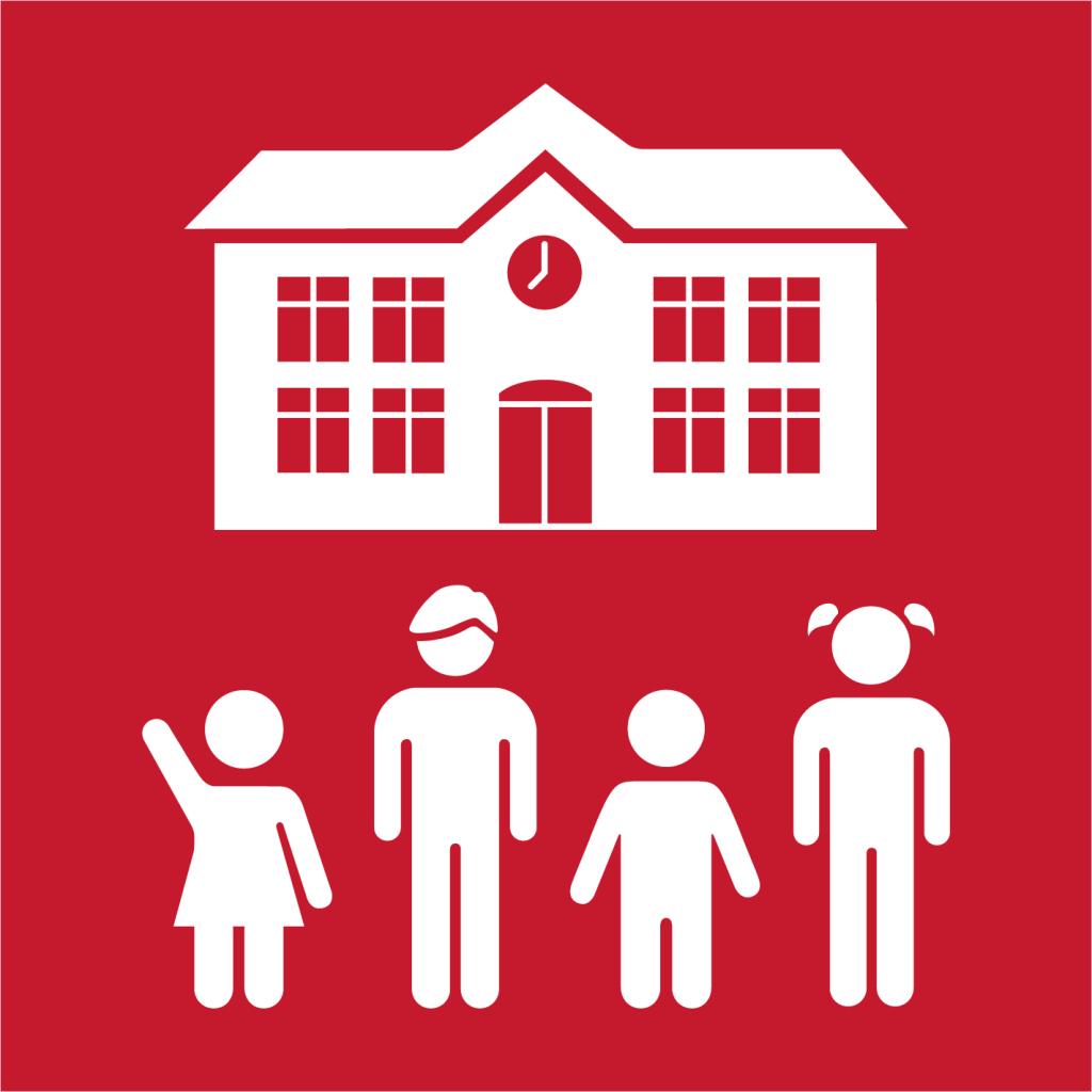 Ikon för delmål 4.1: Avgiftsfri och likvärdig grundskole- och gymnasieutbildning av god kvalitet