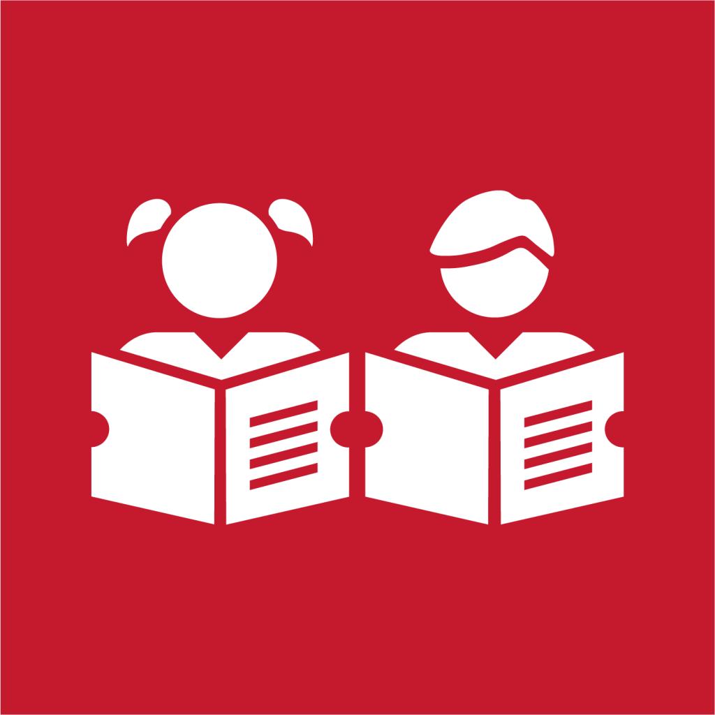 Ikon för delmål 4.6: Alla människor ska kunna läsa, skriva och räkna