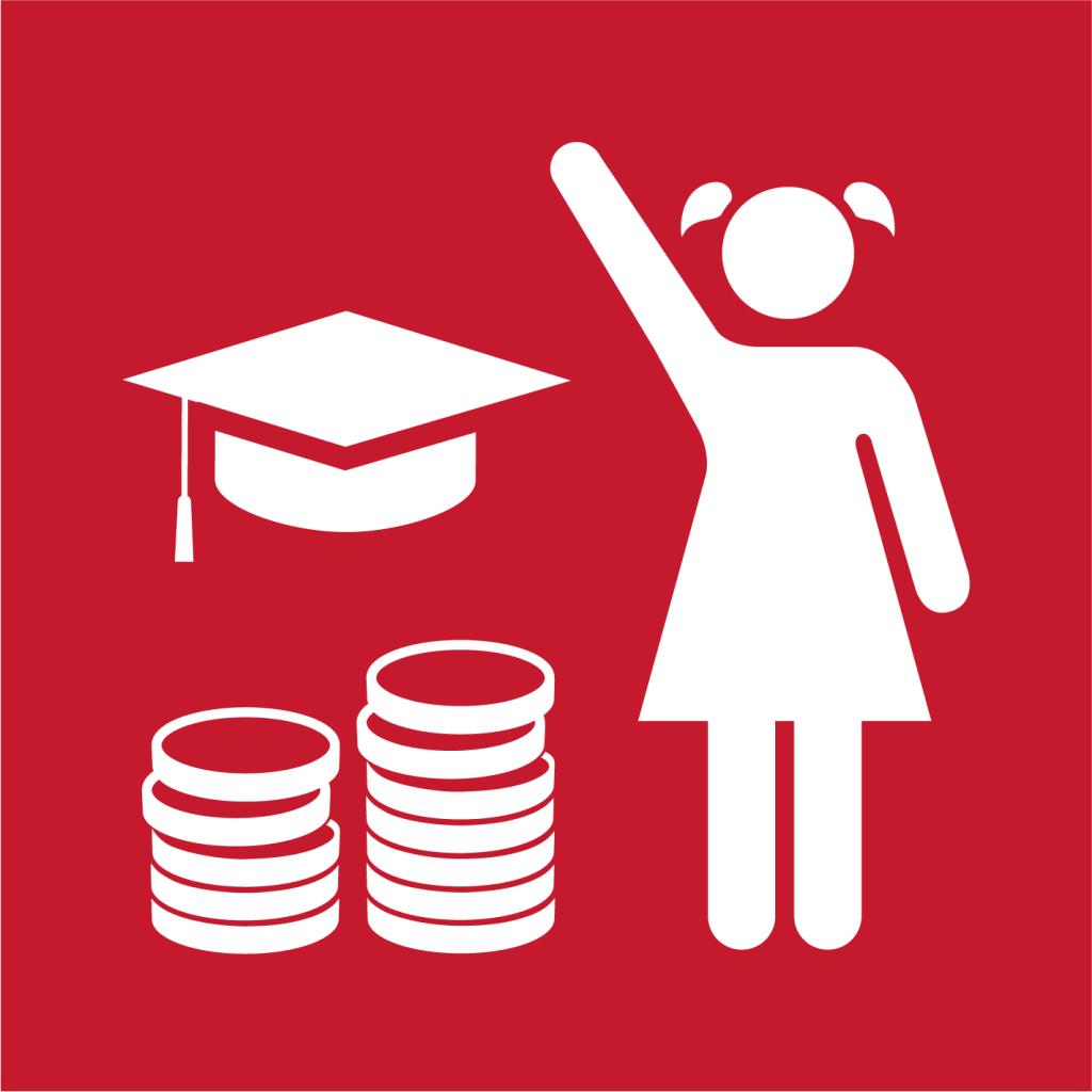 Ikon för delmål 4.B: Öka antalet stipendier för högre utbildning för utvecklingsländer
