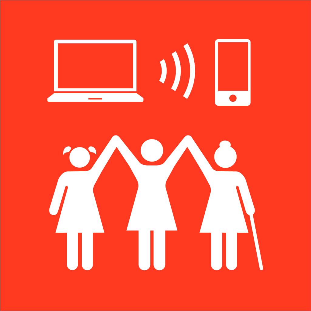 Ikon för delmål 5.B: Stärk kvinnors roll med hjälp av teknik