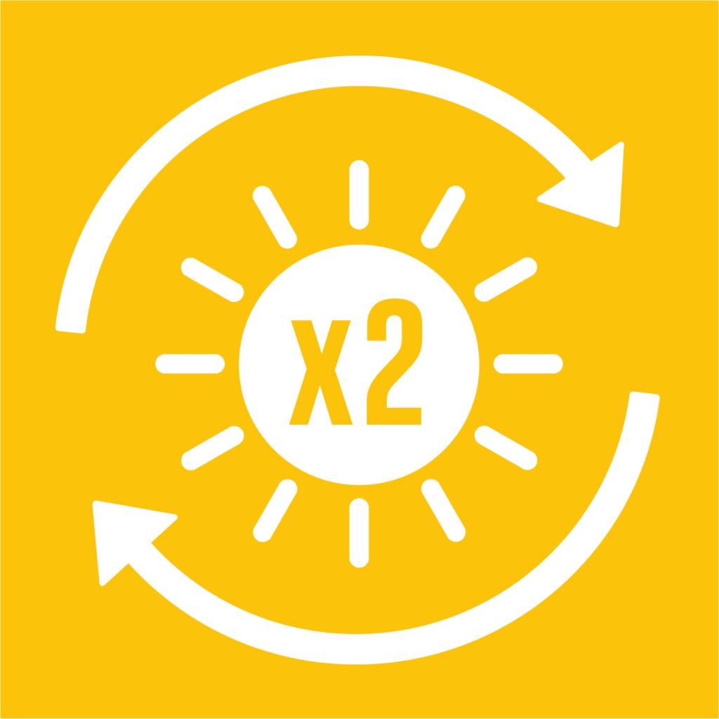 Ikon för delmål 7.3: Fördubbla ökningen av energieffektivitet
