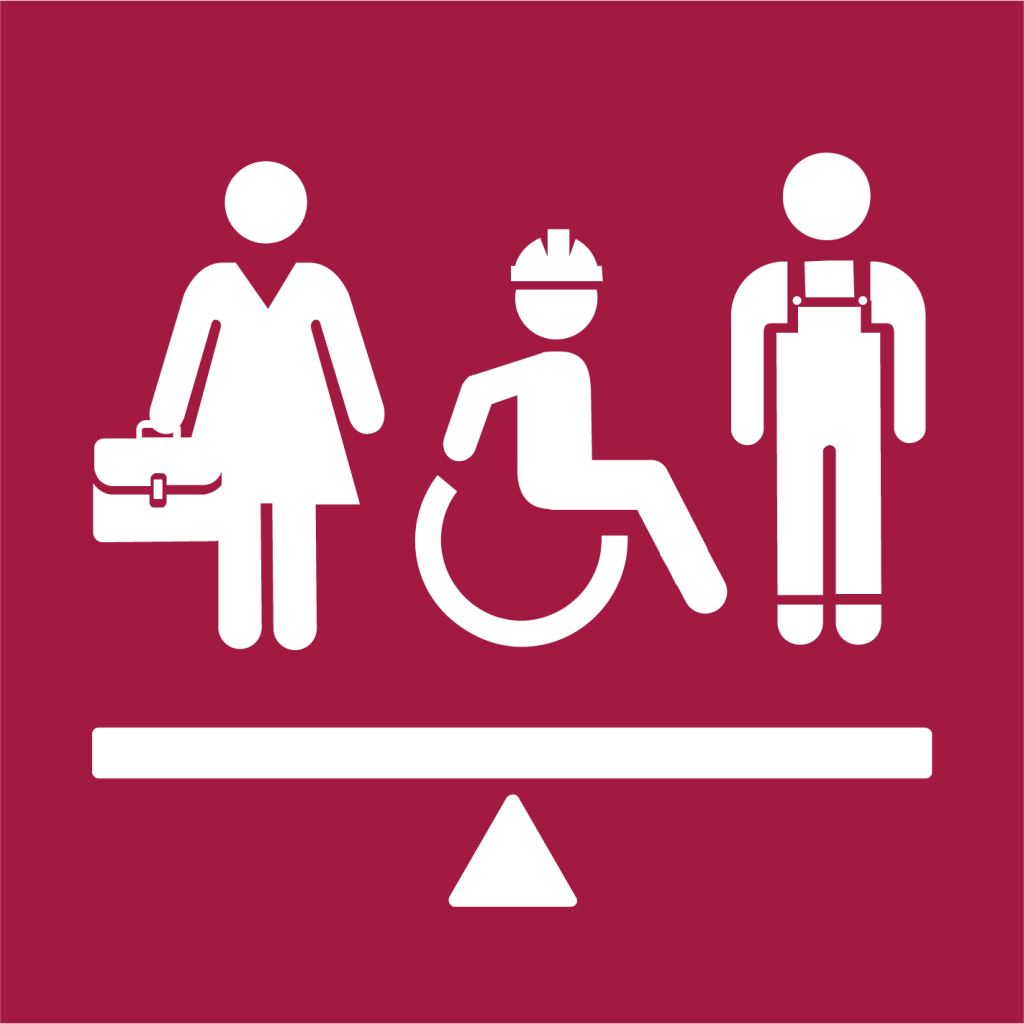 Ikon för delmål 8.5: Full sysselsättning och anständiga arbetsvillkor med lika lön för alla