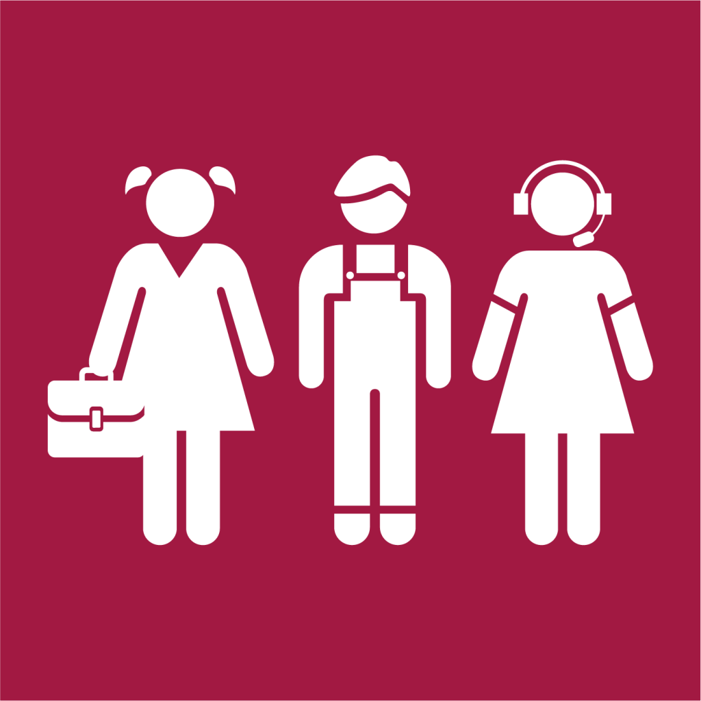 Ikon för delmål 8.6: Främja ungas anställning, utbildning och praktik