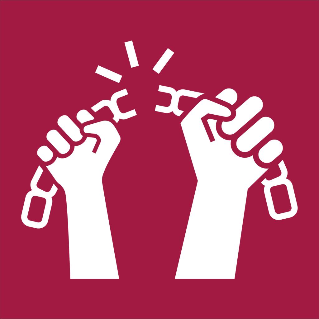 Ikon för delmål 8.7: Utrota tvångsarbete, människohandel och barnarbete