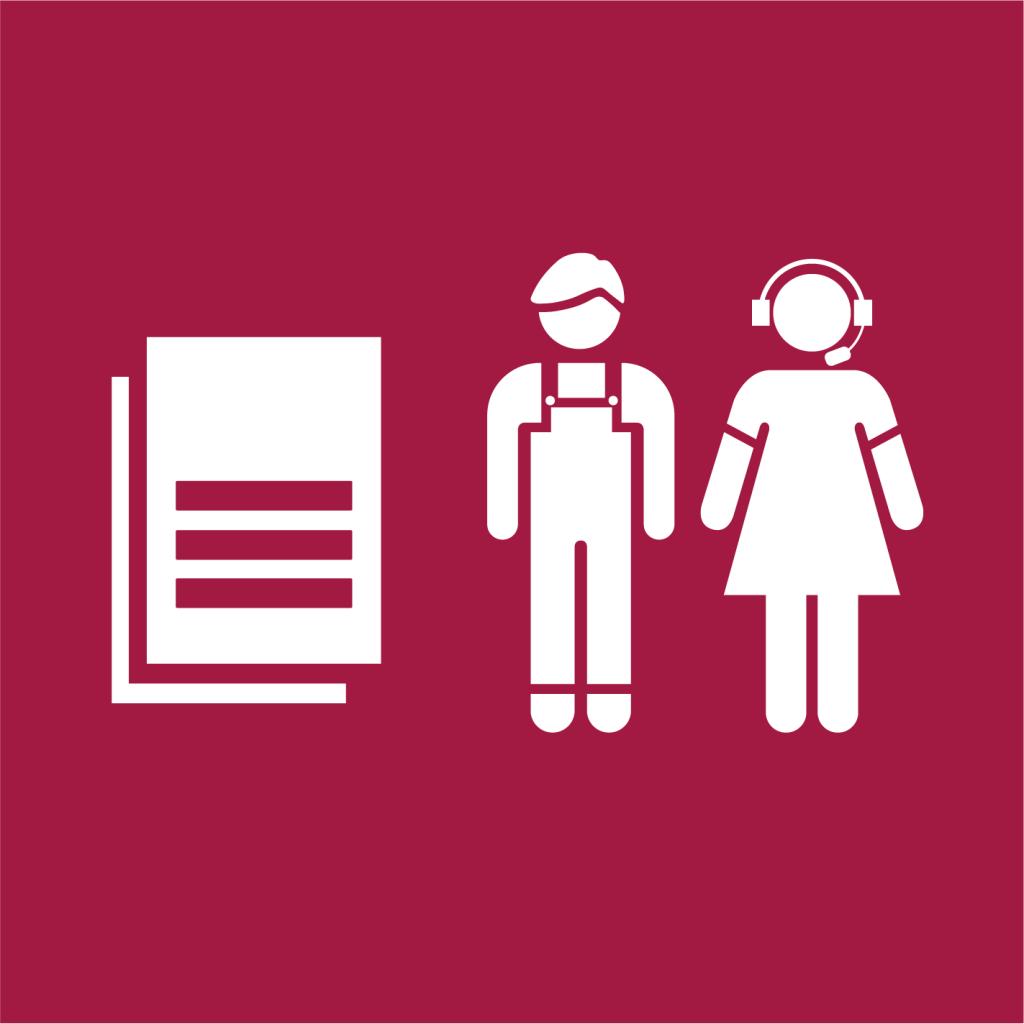 Ikon för delmål 8.B: Utarbeta en global strategi för ungdomssysselsättning