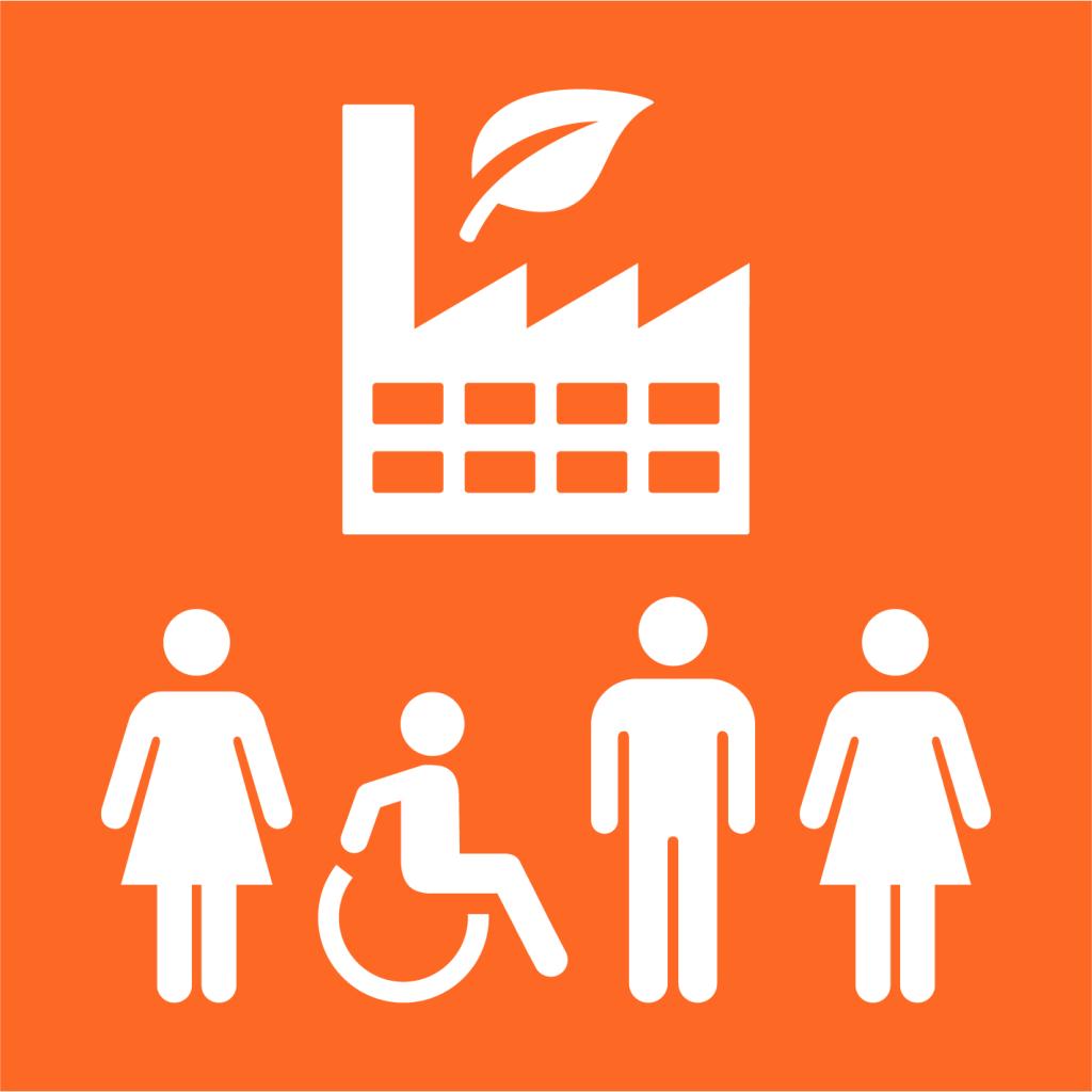Ikon för delmål 9.2: Främja inkluderande och hållbar industrialisering
