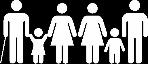 1. Ingen fattigdom. Sex människor står på rad. Fyra är vuxna, två är barn. Tre har byxor och tre har klänning. En vuxen håller i en vit käpp.
