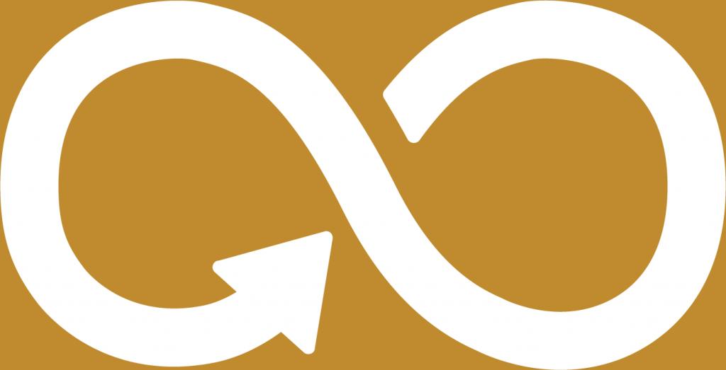 12. Hållbar konsumtion och produktion. En liggande åtta med en pil i slutet av linjen. En variant av oändlighetssymbolen.