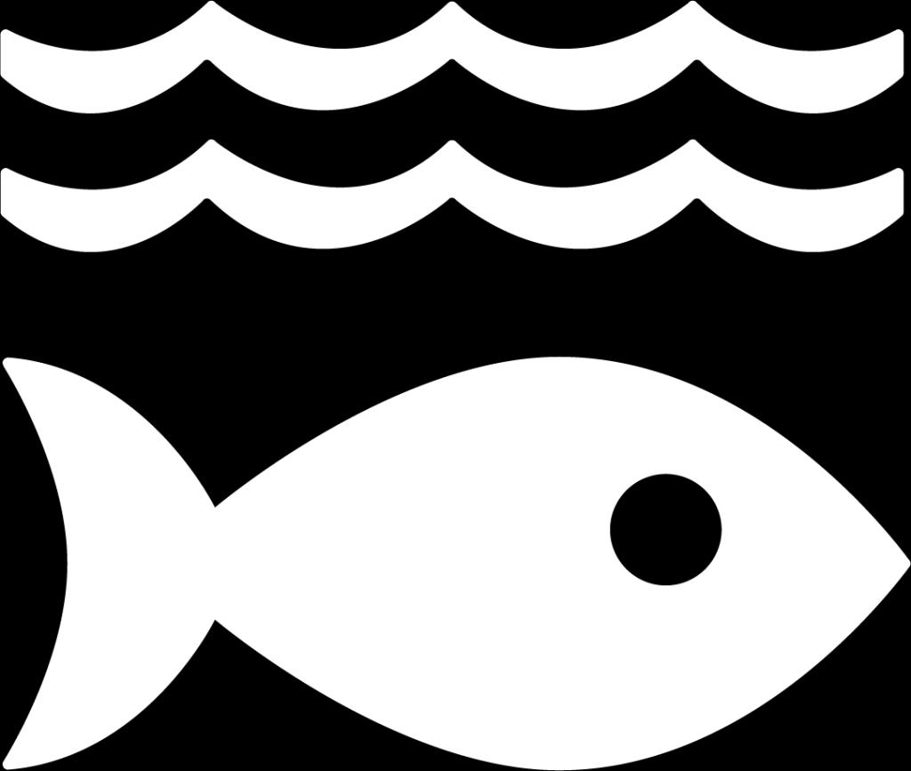 14. Hav och marina resurser. En fisk under två våglinjer.