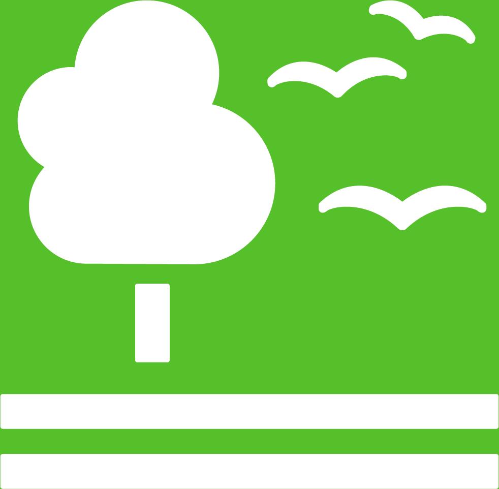 15. Ekosystem och biologisk mångfald. Ett träd som står på två vågräta streck. Bredvid trädet finns tre flygande fåglar.