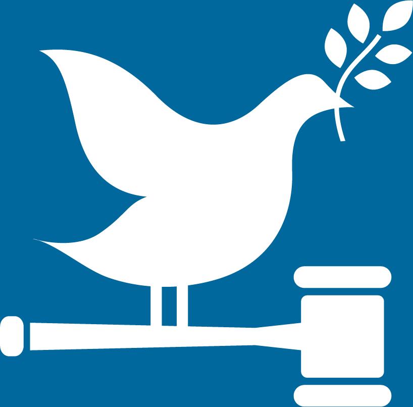 16. Fredliga och inkluderande samhällen. En fredsduva med kvist i näbben, sitter på skaftet av en domarklubba.