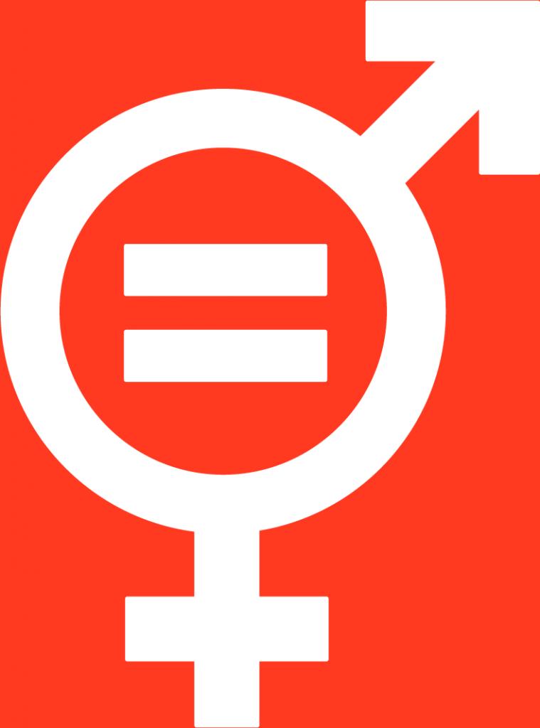 5. Jämställdhet. En cirkel, en kombinerad mans- och kvinnosymbol, med en pil och ett plustecken utvändigt, i mitten av cirkeln finns ett likhetstecken.
