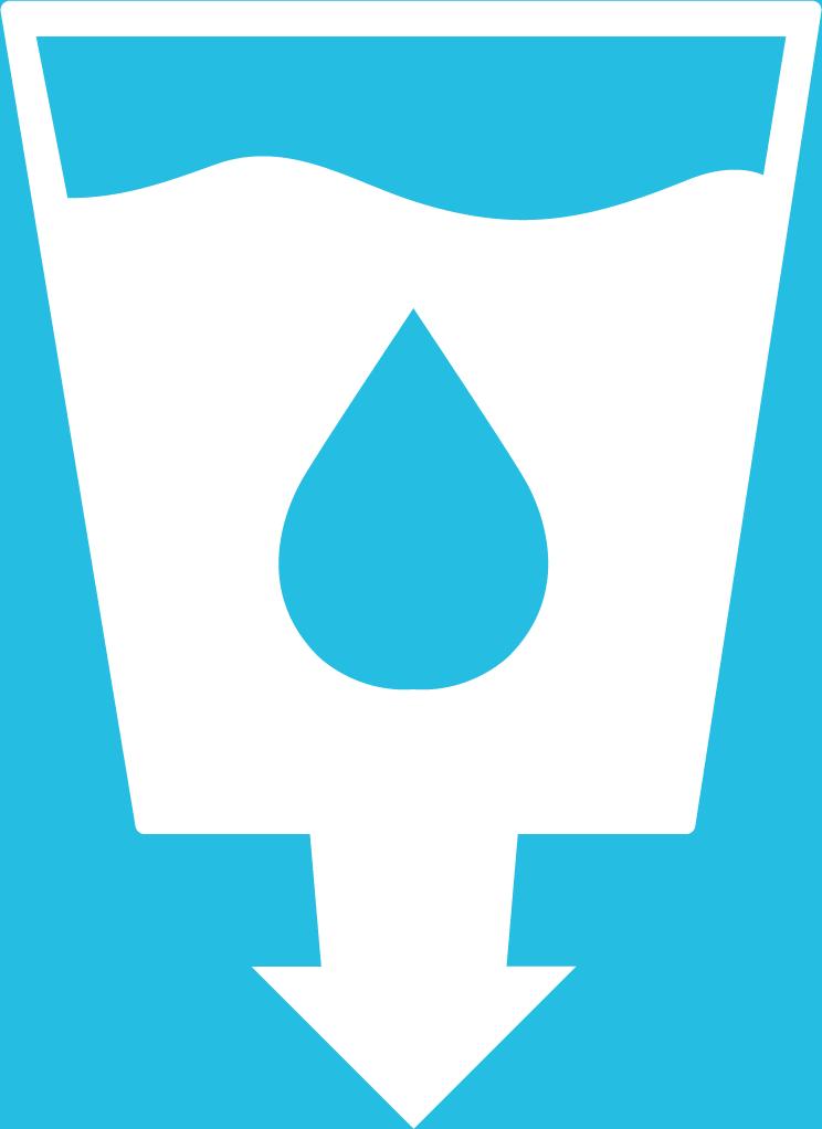 6. Rent vatten och sanitet. Ett fullt vattenglas med en blå vattendroppe på. Under glaset finns ett avloppsrör, som avslutas i en pil nedåt.