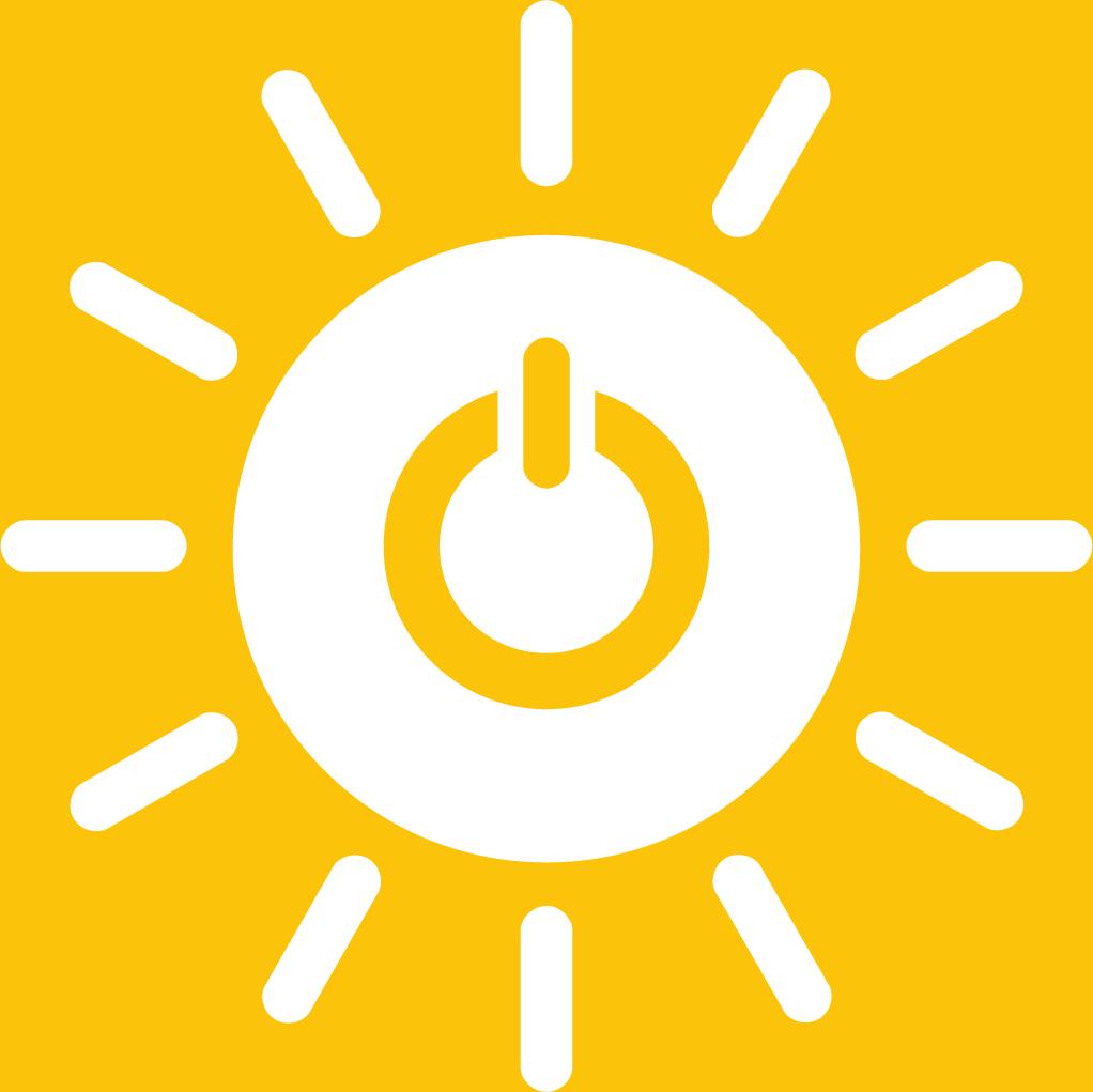7. Hållbar energi för alla. En sol med en powersymbol i mitten. Solen har tolv strålar.