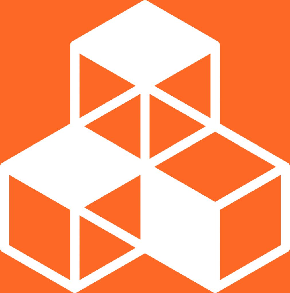 9. Hållbar industri, innovationer och infrastruktur. Fyra kuber, tre är i botten och bildar ett hörn, den fjärde är staplad på hörnkuben.
