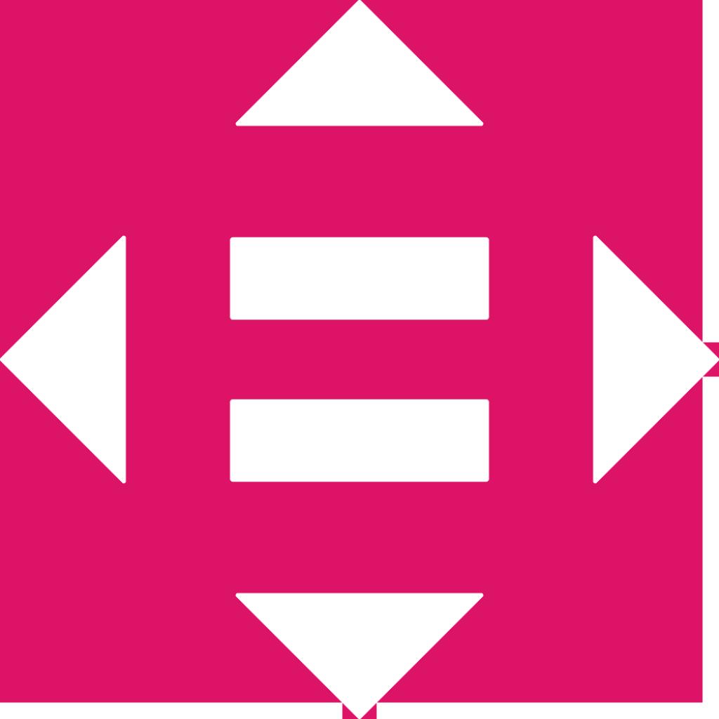 10. Minskad ojämlikhet. Ett likhetstecken omgivet av fyra trianglar pekande i de fyra väderstrecken.