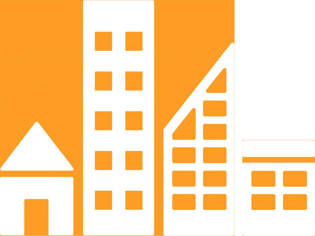 11. Hållbara städer och samhällen. En rad av fyra olika hustyper.